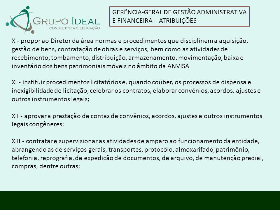 GERÊNCIA-GERAL DE GESTÃO ADMINISTRATIVA E FINANCEIRA - ATRIBUIÇÕES- XI - instituir procedimentos licitatórios e, quando couber, os processos de dispen