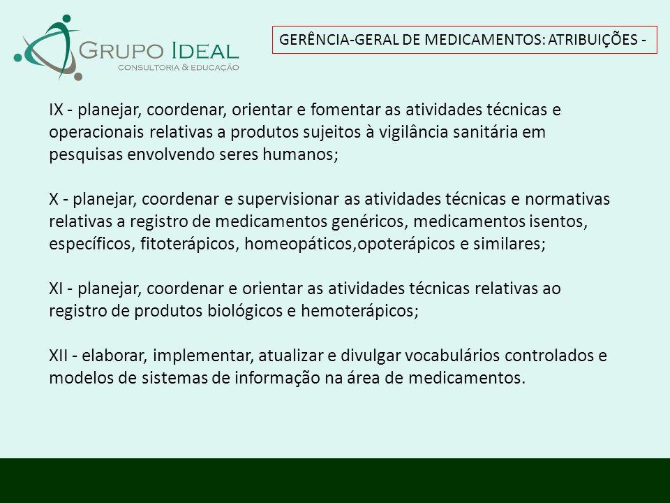 GERÊNCIA-GERAL DE MEDICAMENTOS: ATRIBUIÇÕES - IX - planejar, coordenar, orientar e fomentar as atividades técnicas e operacionais relativas a produtos