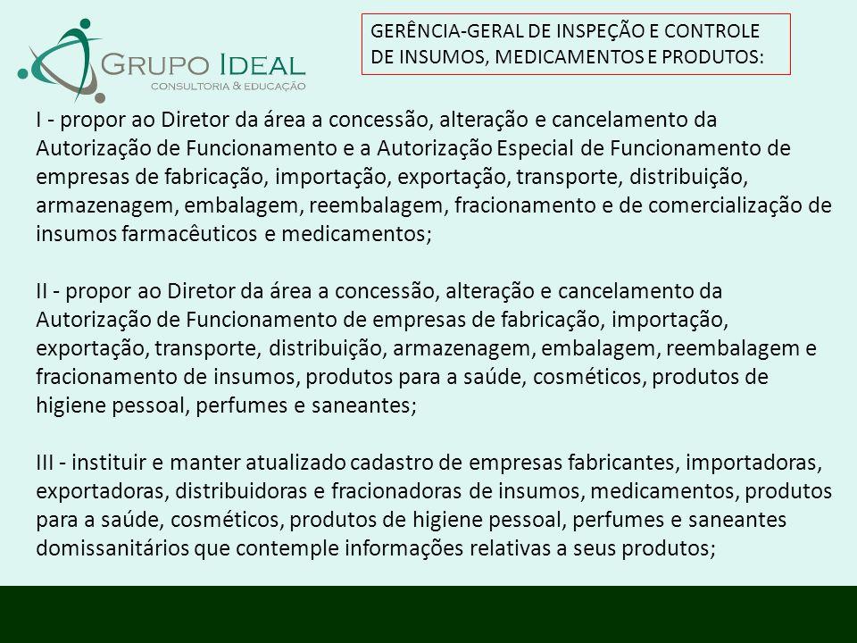 GERÊNCIA-GERAL DE INSPEÇÃO E CONTROLE DE INSUMOS, MEDICAMENTOS E PRODUTOS: I - propor ao Diretor da área a concessão, alteração e cancelamento da Auto