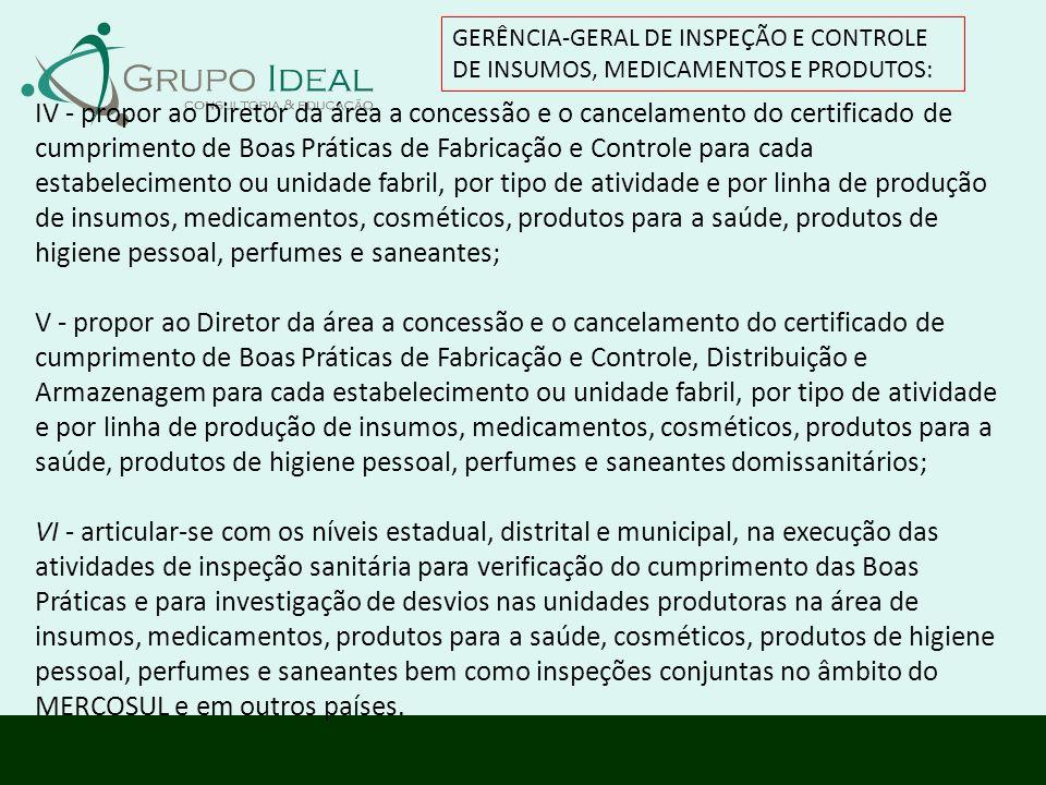 GERÊNCIA-GERAL DE INSPEÇÃO E CONTROLE DE INSUMOS, MEDICAMENTOS E PRODUTOS: IV - propor ao Diretor da área a concessão e o cancelamento do certificado