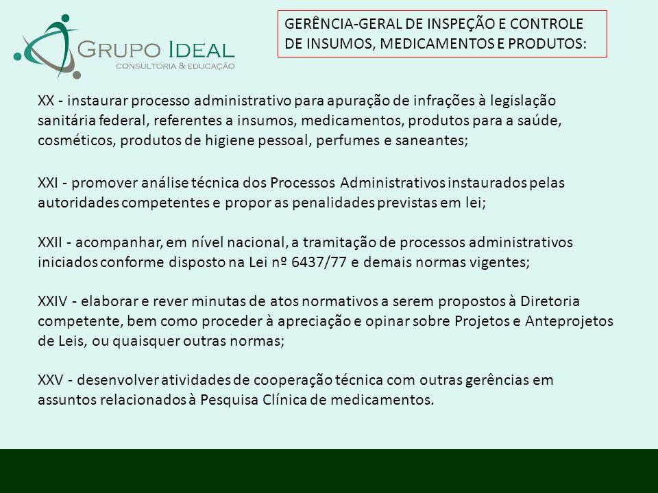 GERÊNCIA-GERAL DE INSPEÇÃO E CONTROLE DE INSUMOS, MEDICAMENTOS E PRODUTOS: XXI - promover análise técnica dos Processos Administrativos instaurados pe