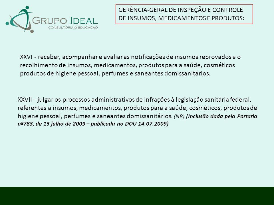 GERÊNCIA-GERAL DE INSPEÇÃO E CONTROLE DE INSUMOS, MEDICAMENTOS E PRODUTOS: XXVII - julgar os processos administrativos de infrações à legislação sanit