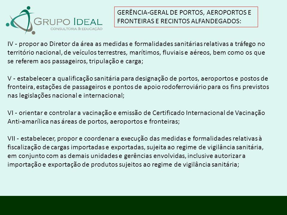 GERÊNCIA-GERAL DE PORTOS, AEROPORTOS E FRONTEIRAS E RECINTOS ALFANDEGADOS: IV - propor ao Diretor da área as medidas e formalidades sanitárias relativ