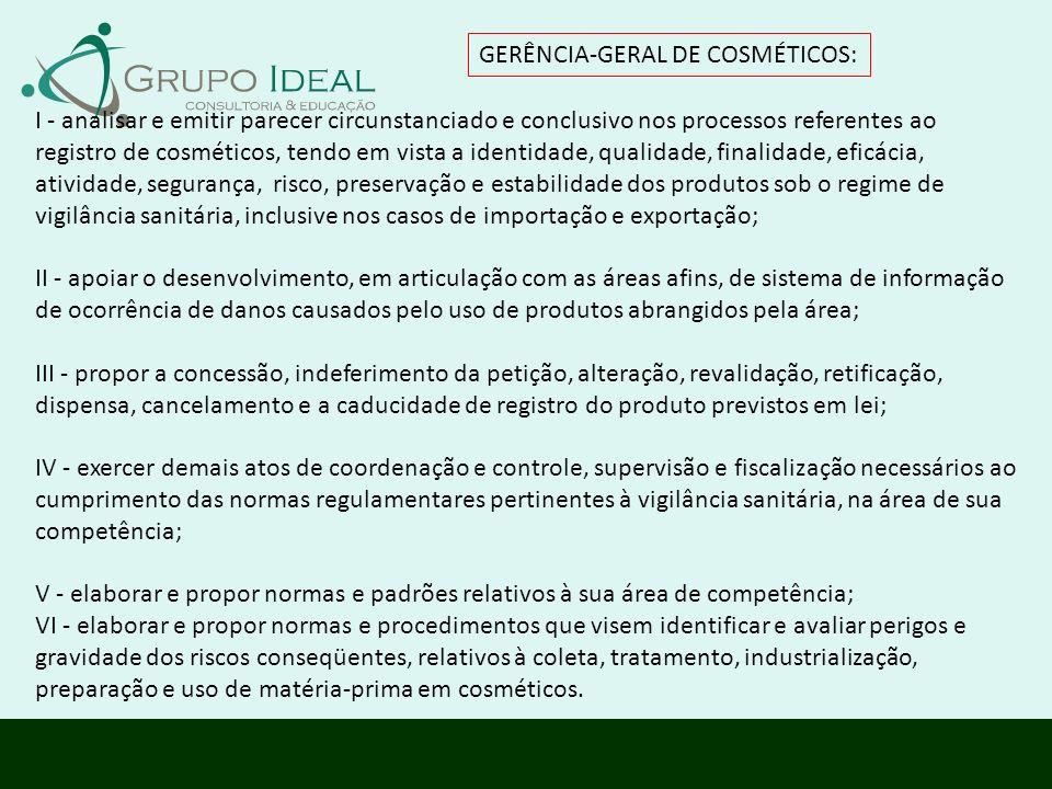 GERÊNCIA-GERAL DE COSMÉTICOS: I - analisar e emitir parecer circunstanciado e conclusivo nos processos referentes ao registro de cosméticos, tendo em