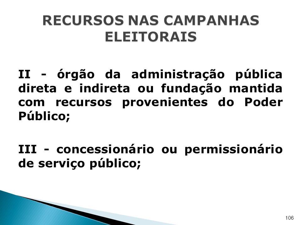 II - órgão da administração pública direta e indireta ou fundação mantida com recursos provenientes do Poder Público; III - concessionário ou permissi