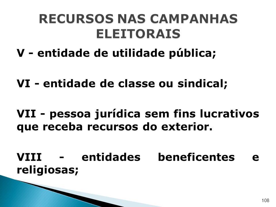 V - entidade de utilidade pública; VI - entidade de classe ou sindical; VII - pessoa jurídica sem fins lucrativos que receba recursos do exterior. VII
