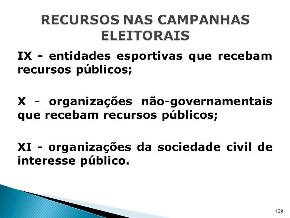IX - entidades esportivas que recebam recursos públicos; X - organizações não-governamentais que recebam recursos públicos; XI - organizações da socie