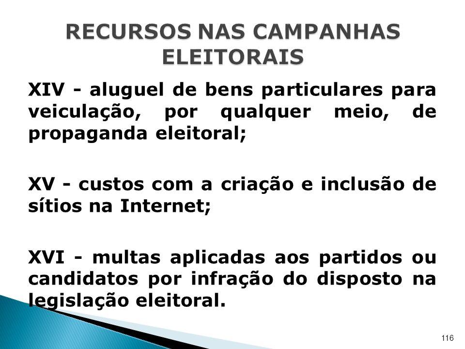 XIV - aluguel de bens particulares para veiculação, por qualquer meio, de propaganda eleitoral; XV - custos com a criação e inclusão de sítios na Inte