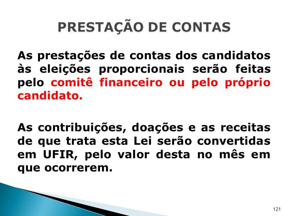 As prestações de contas dos candidatos às eleições proporcionais serão feitas pelo comitê financeiro ou pelo próprio candidato. As contribuições, doaç