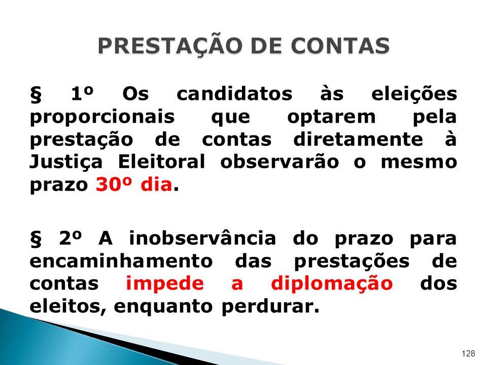 § 1º Os candidatos às eleições proporcionais que optarem pela prestação de contas diretamente à Justiça Eleitoral observarão o mesmo prazo 30º dia. §