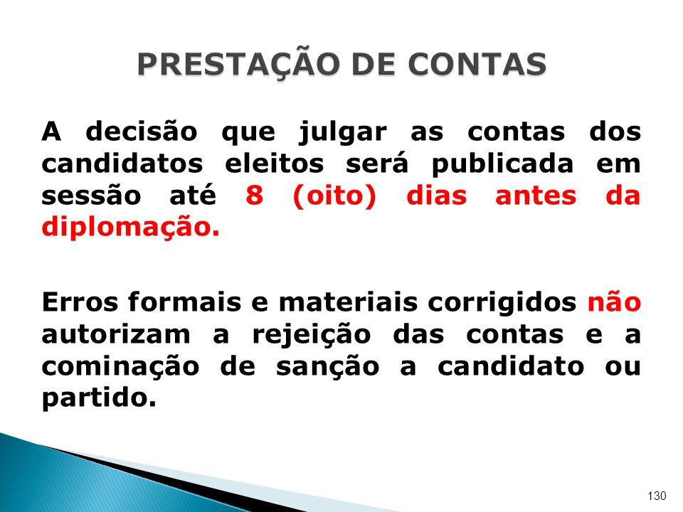 A decisão que julgar as contas dos candidatos eleitos será publicada em sessão até 8 (oito) dias antes da diplomação. Erros formais e materiais corrig
