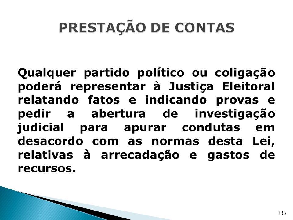 Qualquer partido político ou coligação poderá representar à Justiça Eleitoral relatando fatos e indicando provas e pedir a abertura de investigação ju