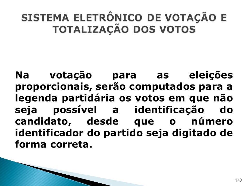 Na votação para as eleições proporcionais, serão computados para a legenda partidária os votos em que não seja possível a identificação do candidato,