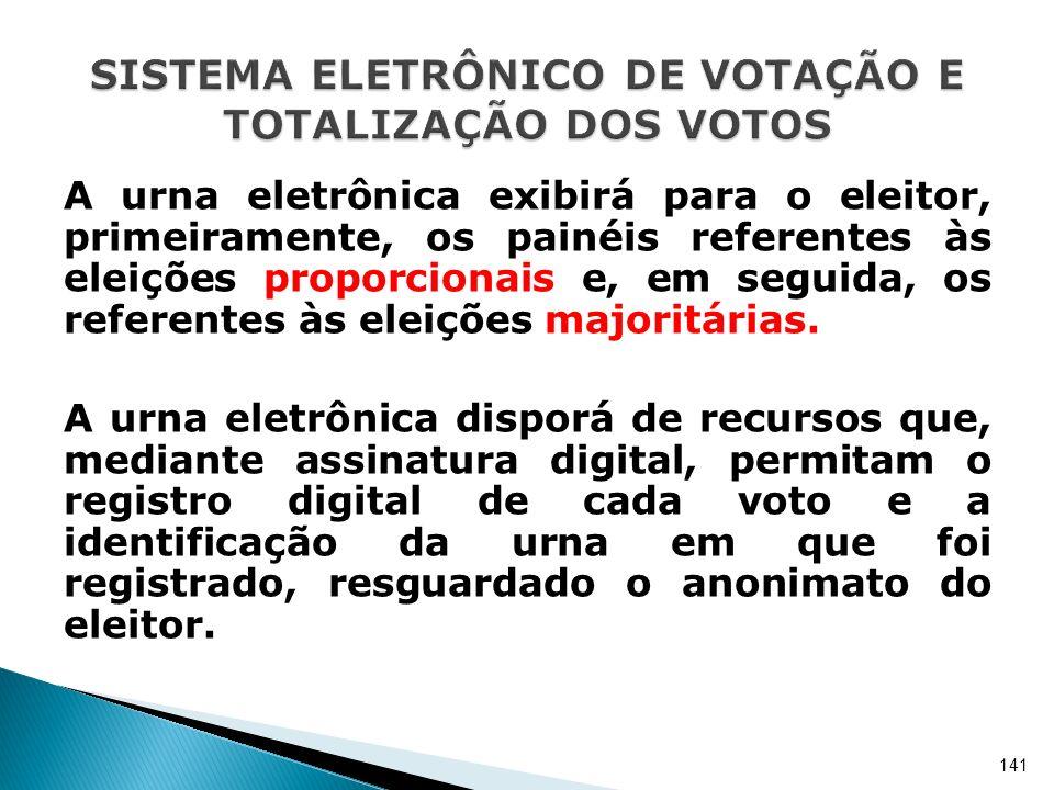 A urna eletrônica exibirá para o eleitor, primeiramente, os painéis referentes às eleições proporcionais e, em seguida, os referentes às eleições majo