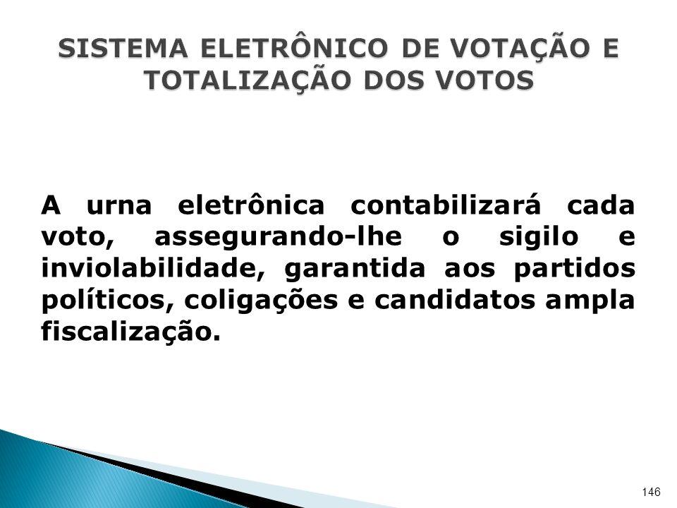 A urna eletrônica contabilizará cada voto, assegurando-lhe o sigilo e inviolabilidade, garantida aos partidos políticos, coligações e candidatos ampla