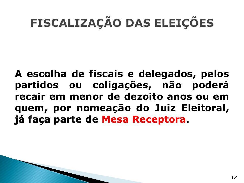 A escolha de fiscais e delegados, pelos partidos ou coligações, não poderá recair em menor de dezoito anos ou em quem, por nomeação do Juiz Eleitoral,