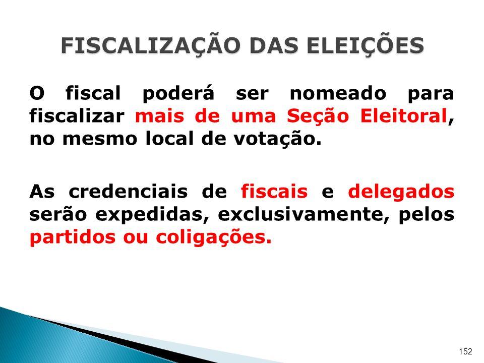 O fiscal poderá ser nomeado para fiscalizar mais de uma Seção Eleitoral, no mesmo local de votação. As credenciais de fiscais e delegados serão expedi