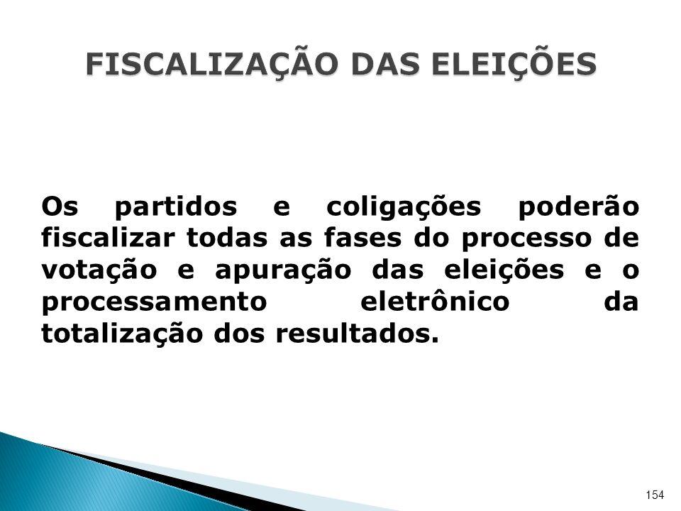 Os partidos e coligações poderão fiscalizar todas as fases do processo de votação e apuração das eleições e o processamento eletrônico da totalização