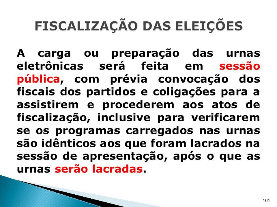 A carga ou preparação das urnas eletrônicas será feita em sessão pública, com prévia convocação dos fiscais dos partidos e coligações para a assistire