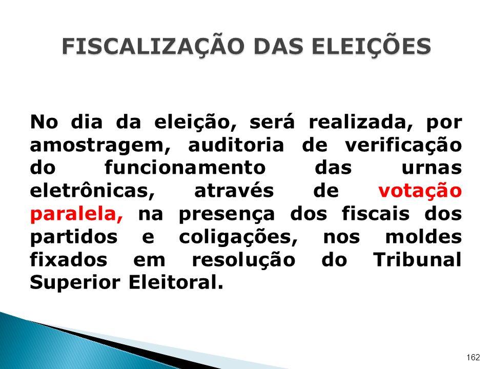 No dia da eleição, será realizada, por amostragem, auditoria de verificação do funcionamento das urnas eletrônicas, através de votação paralela, na pr