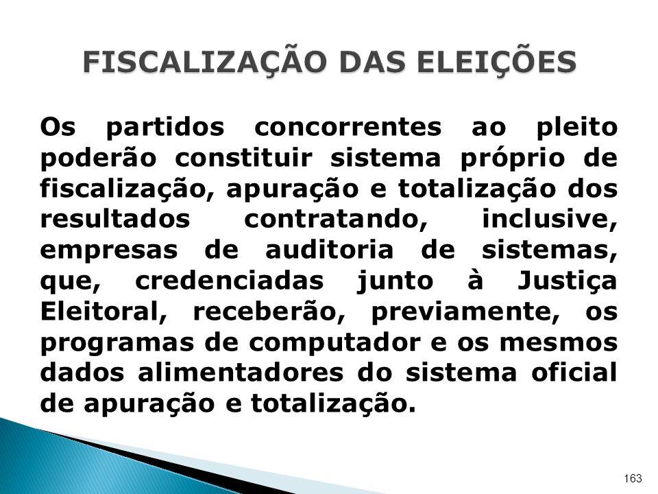 Os partidos concorrentes ao pleito poderão constituir sistema próprio de fiscalização, apuração e totalização dos resultados contratando, inclusive, e
