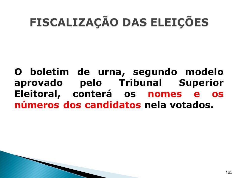 O boletim de urna, segundo modelo aprovado pelo Tribunal Superior Eleitoral, conterá os nomes e os números dos candidatos nela votados. 165