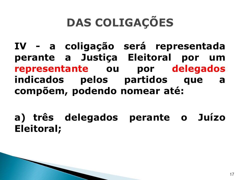 IV - a coligação será representada perante a Justiça Eleitoral por um representante ou por delegados indicados pelos partidos que a compõem, podendo n