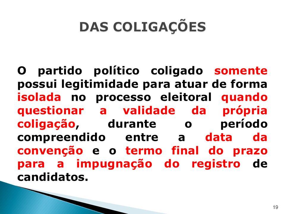 O partido político coligado somente possui legitimidade para atuar de forma isolada no processo eleitoral quando questionar a validade da própria coli