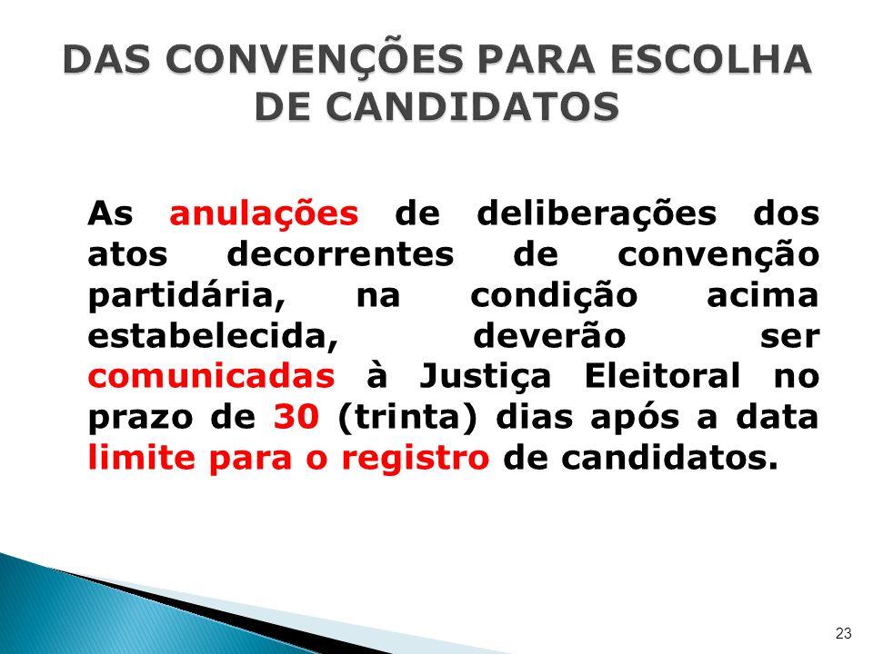 As anulações de deliberações dos atos decorrentes de convenção partidária, na condição acima estabelecida, deverão ser comunicadas à Justiça Eleitoral