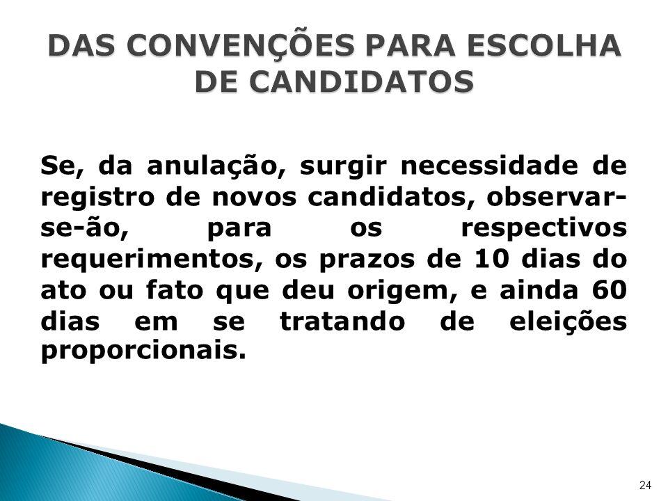 Se, da anulação, surgir necessidade de registro de novos candidatos, observar- se-ão, para os respectivos requerimentos, os prazos de 10 dias do ato o