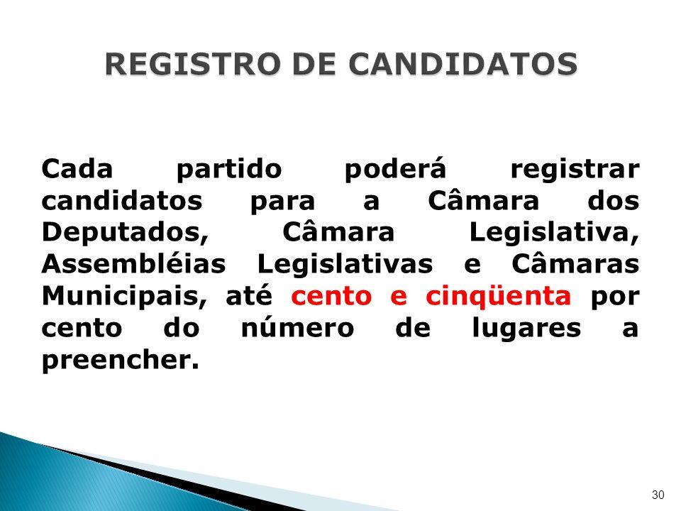Cada partido poderá registrar candidatos para a Câmara dos Deputados, Câmara Legislativa, Assembléias Legislativas e Câmaras Municipais, até cento e c
