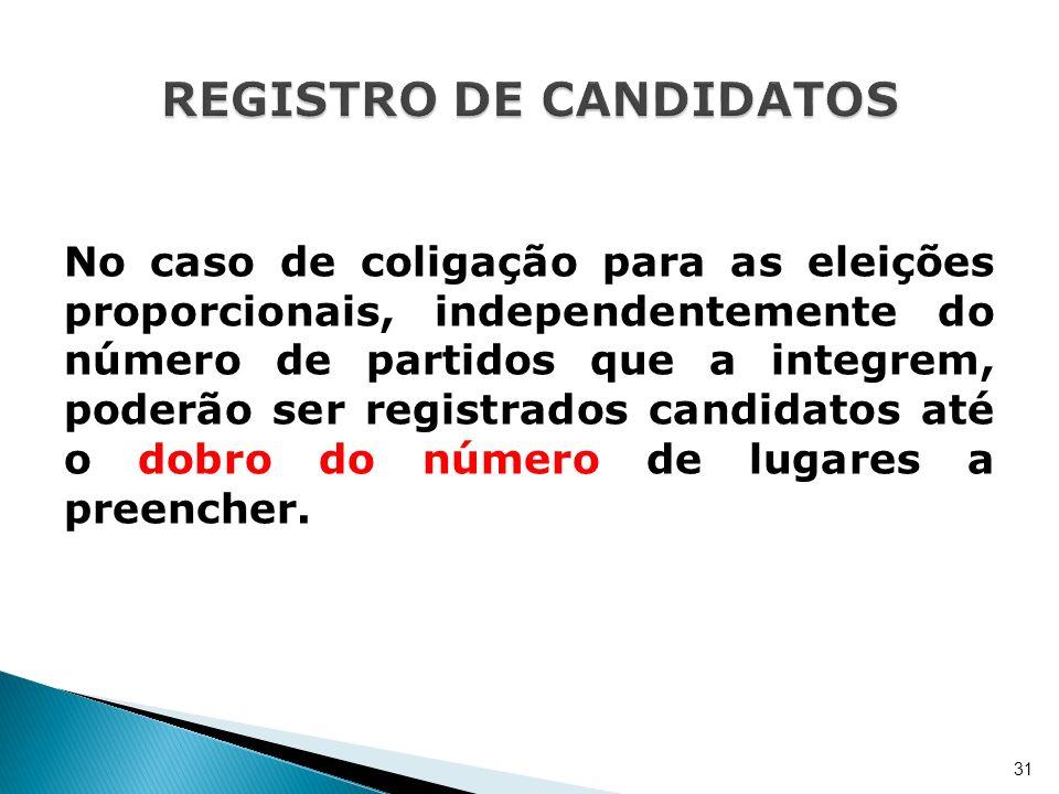 No caso de coligação para as eleições proporcionais, independentemente do número de partidos que a integrem, poderão ser registrados candidatos até o