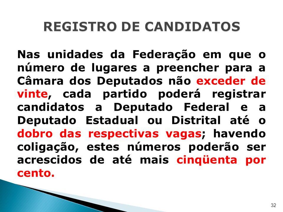 Nas unidades da Federação em que o número de lugares a preencher para a Câmara dos Deputados não exceder de vinte, cada partido poderá registrar candi