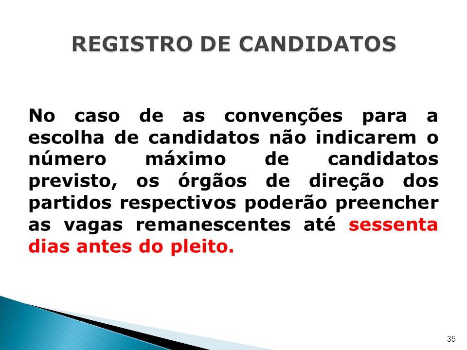No caso de as convenções para a escolha de candidatos não indicarem o número máximo de candidatos previsto, os órgãos de direção dos partidos respecti