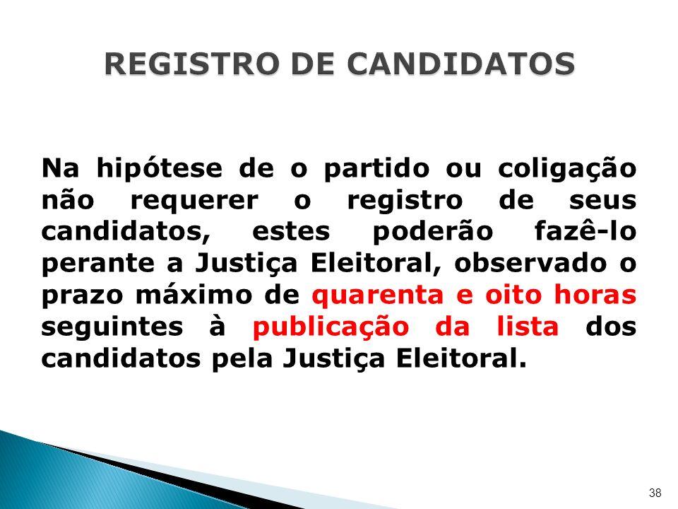 Na hipótese de o partido ou coligação não requerer o registro de seus candidatos, estes poderão fazê-lo perante a Justiça Eleitoral, observado o prazo
