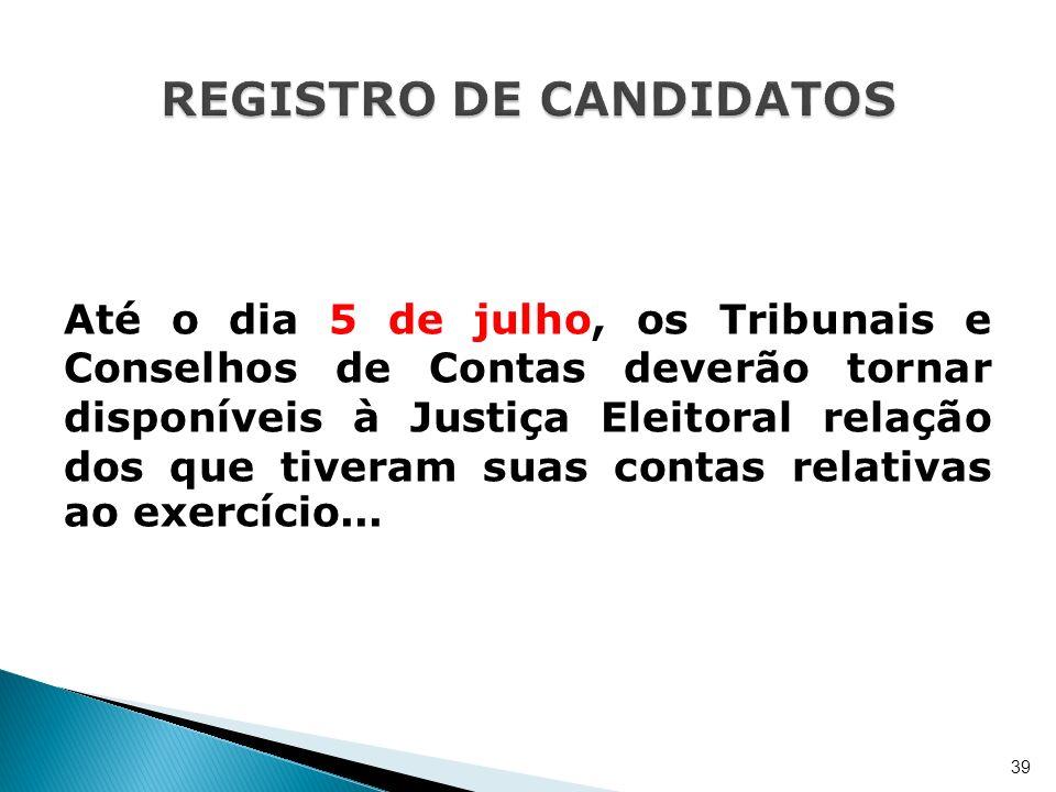 Até o dia 5 de julho, os Tribunais e Conselhos de Contas deverão tornar disponíveis à Justiça Eleitoral relação dos que tiveram suas contas relativas