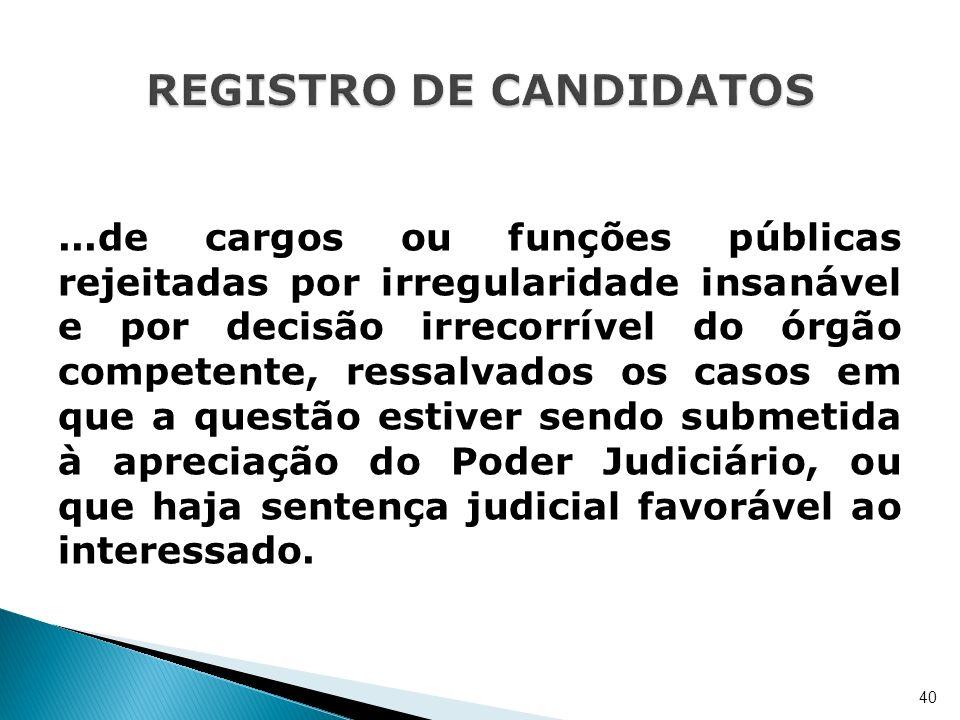...de cargos ou funções públicas rejeitadas por irregularidade insanável e por decisão irrecorrível do órgão competente, ressalvados os casos em que a