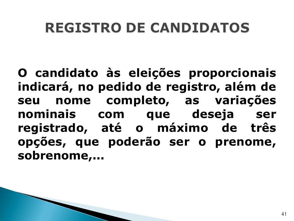 O candidato às eleições proporcionais indicará, no pedido de registro, além de seu nome completo, as variações nominais com que deseja ser registrado,