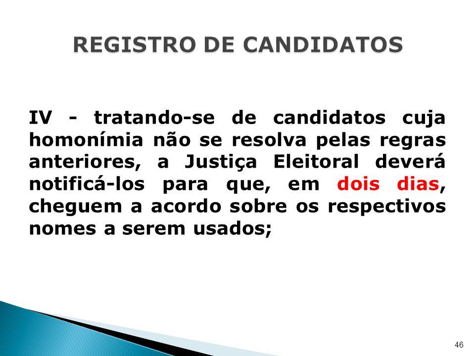 IV - tratando-se de candidatos cuja homonímia não se resolva pelas regras anteriores, a Justiça Eleitoral deverá notificá-los para que, em dois dias,