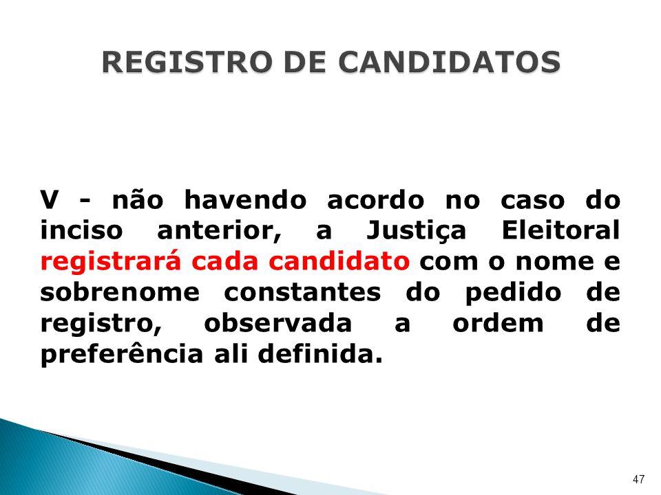 V - não havendo acordo no caso do inciso anterior, a Justiça Eleitoral registrará cada candidato com o nome e sobrenome constantes do pedido de regist