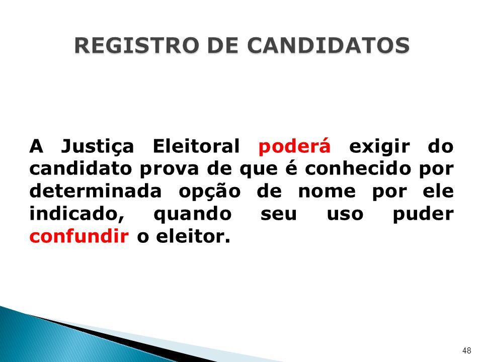 A Justiça Eleitoral poderá exigir do candidato prova de que é conhecido por determinada opção de nome por ele indicado, quando seu uso puder confundir