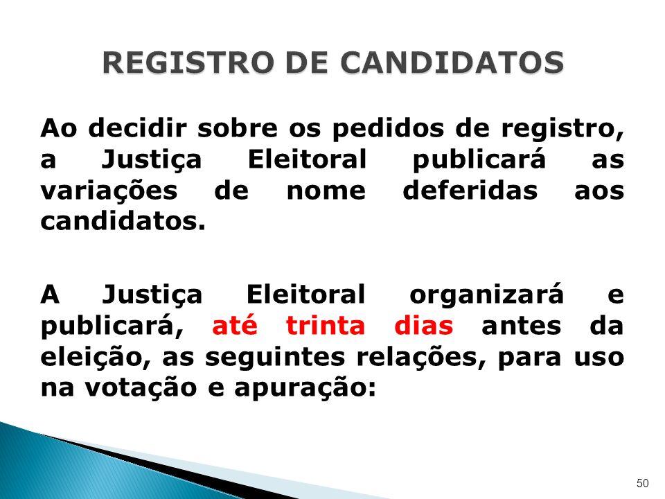 Ao decidir sobre os pedidos de registro, a Justiça Eleitoral publicará as variações de nome deferidas aos candidatos. A Justiça Eleitoral organizará e