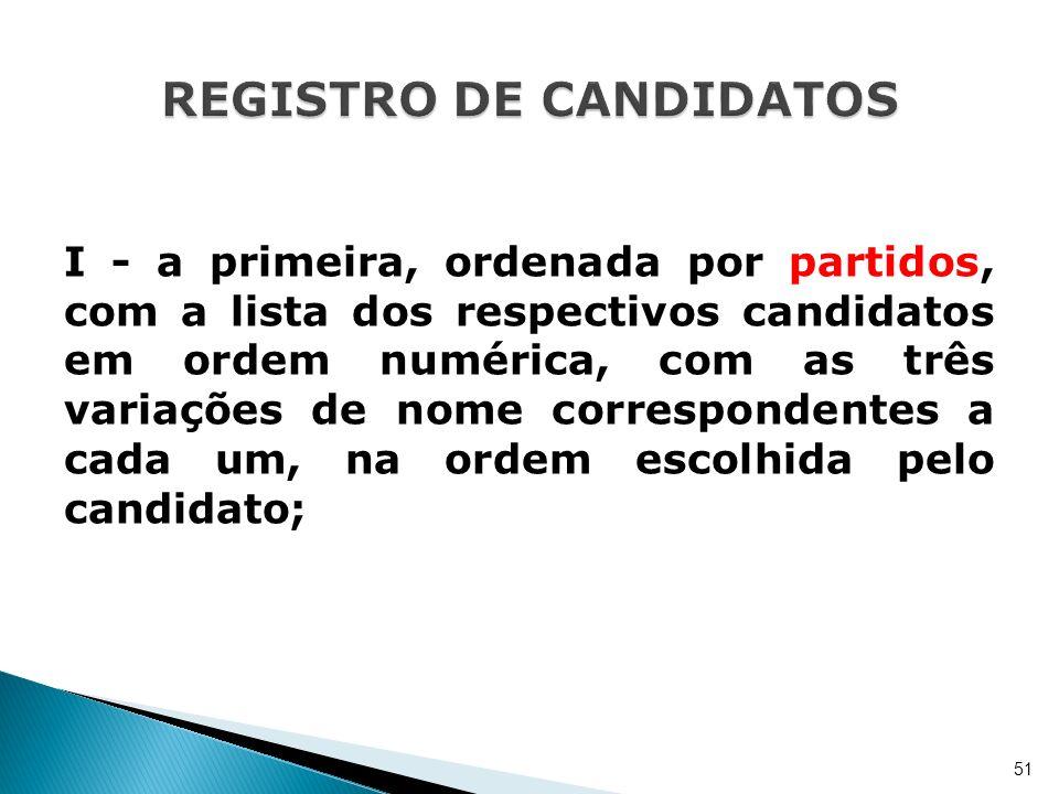 I - a primeira, ordenada por partidos, com a lista dos respectivos candidatos em ordem numérica, com as três variações de nome correspondentes a cada
