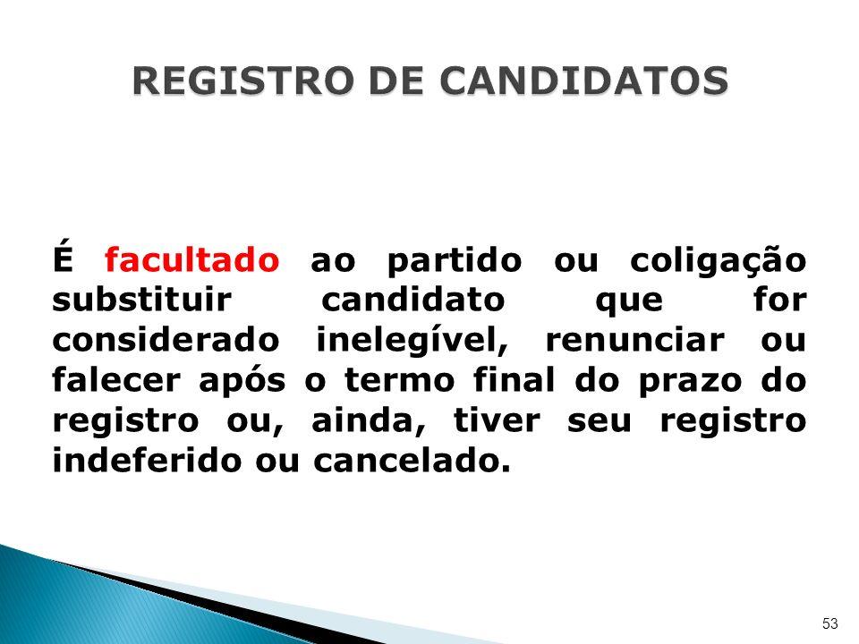 É facultado ao partido ou coligação substituir candidato que for considerado inelegível, renunciar ou falecer após o termo final do prazo do registro