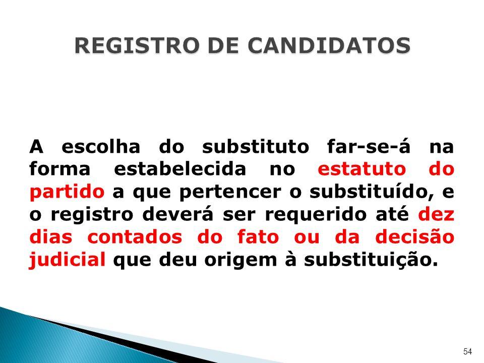 A escolha do substituto far-se-á na forma estabelecida no estatuto do partido a que pertencer o substituído, e o registro deverá ser requerido até dez