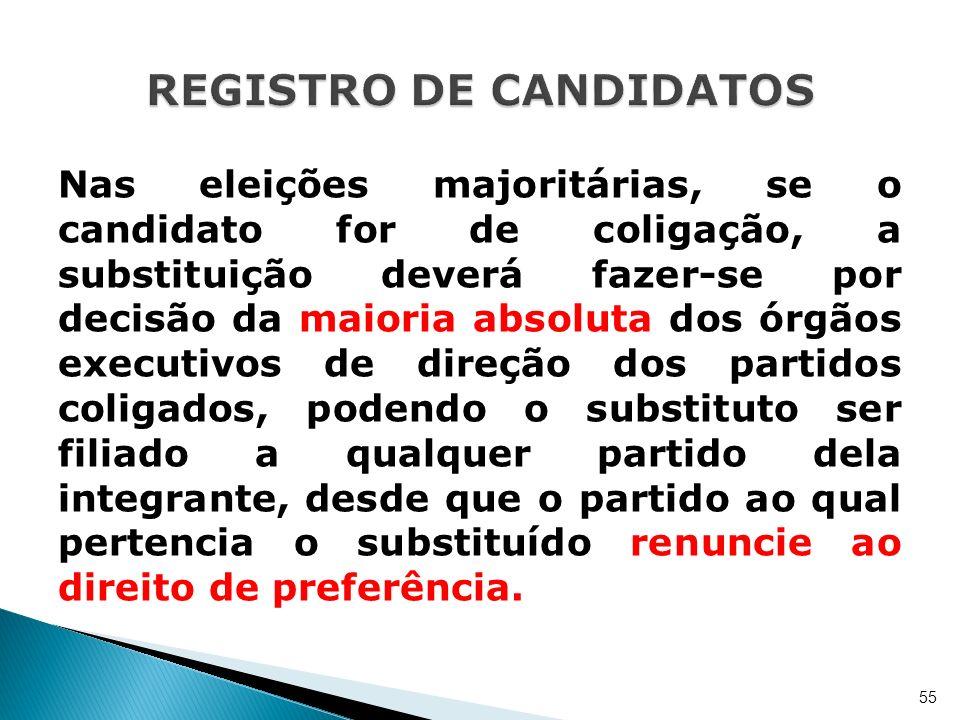 Nas eleições majoritárias, se o candidato for de coligação, a substituição deverá fazer-se por decisão da maioria absoluta dos órgãos executivos de di