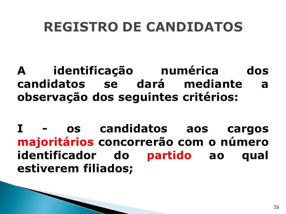 A identificação numérica dos candidatos se dará mediante a observação dos seguintes critérios: I - os candidatos aos cargos majoritários concorrerão c