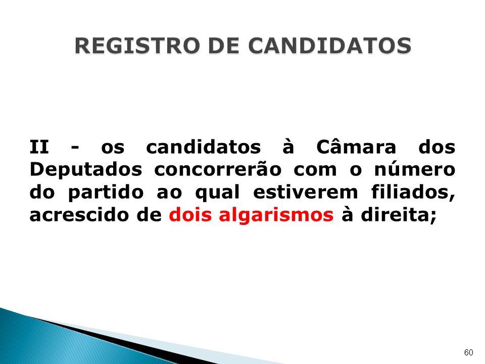 II - os candidatos à Câmara dos Deputados concorrerão com o número do partido ao qual estiverem filiados, acrescido de dois algarismos à direita; 60