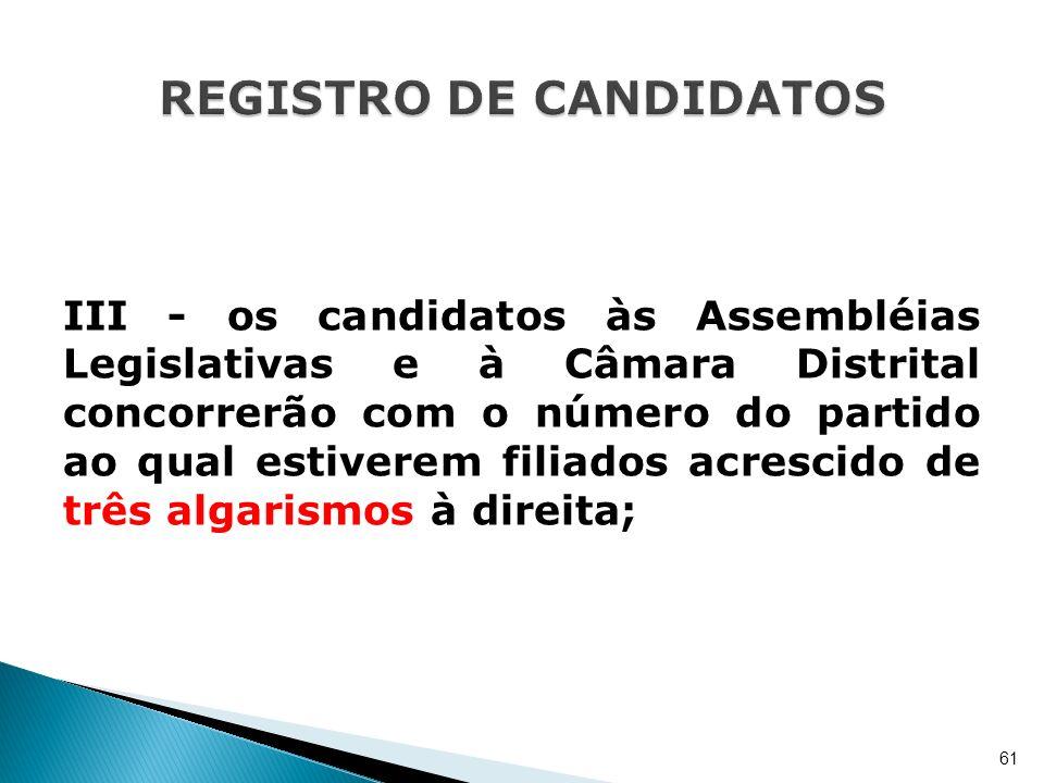 III - os candidatos às Assembléias Legislativas e à Câmara Distrital concorrerão com o número do partido ao qual estiverem filiados acrescido de três