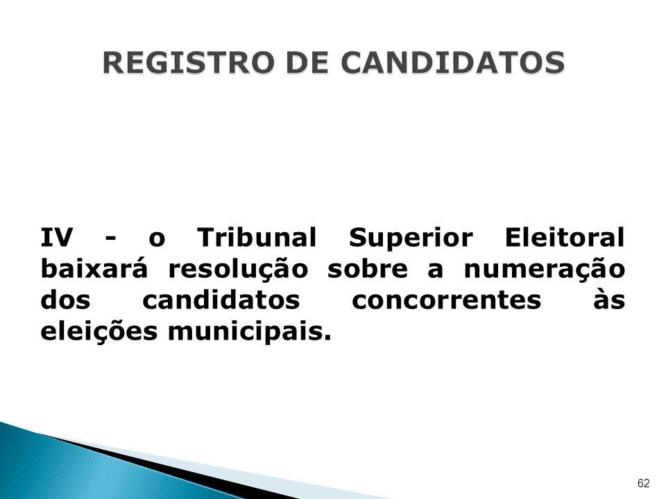 IV - o Tribunal Superior Eleitoral baixará resolução sobre a numeração dos candidatos concorrentes às eleições municipais. 62